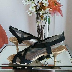 Black Crisscross Strapped Sandals